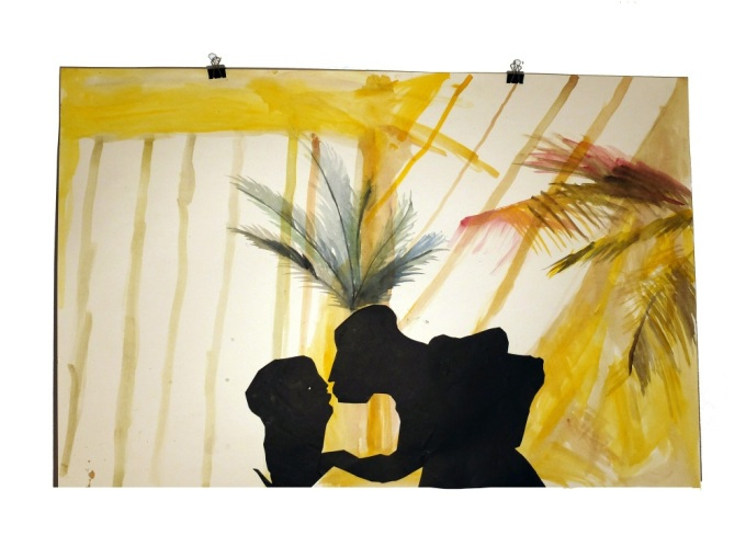 Figures de terasse 1 : aquarelle et papier collé sur carton, 80x120 cm, 2014