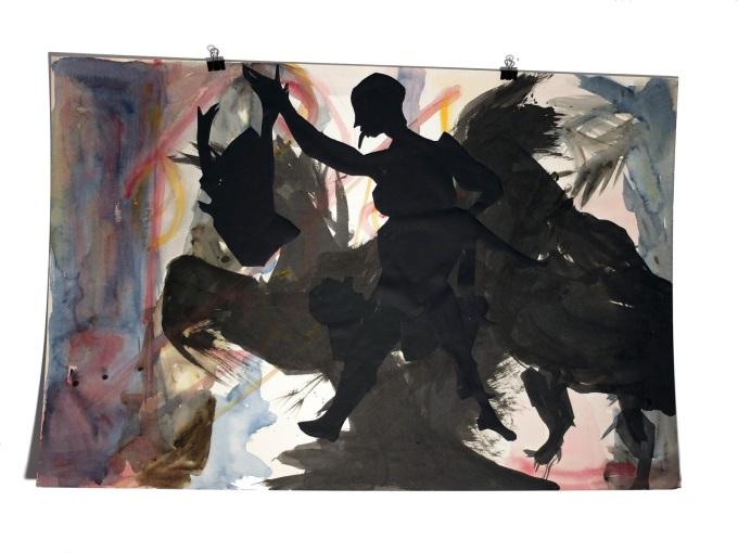 Figures de terasse 10 : aquarelle et papier collé sur carton, 80x120 cm, 2014