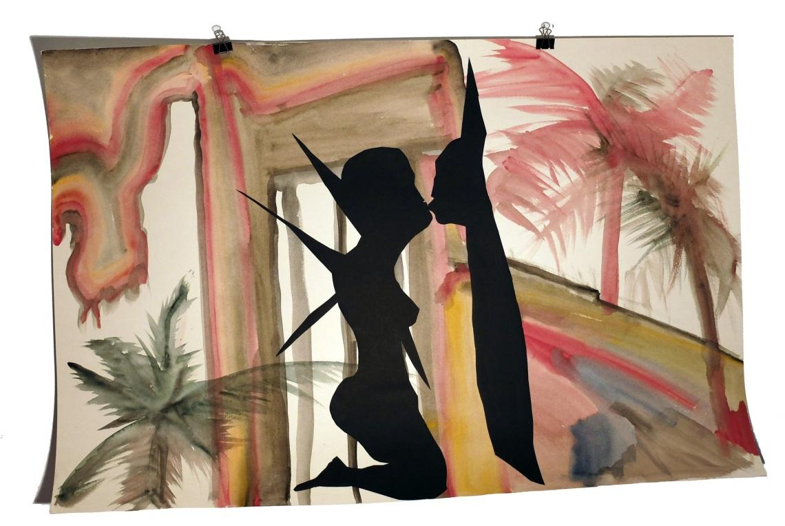 Figures de terasse 11 : aquarelle et papier collé sur carton, 80x120 cm, 2014