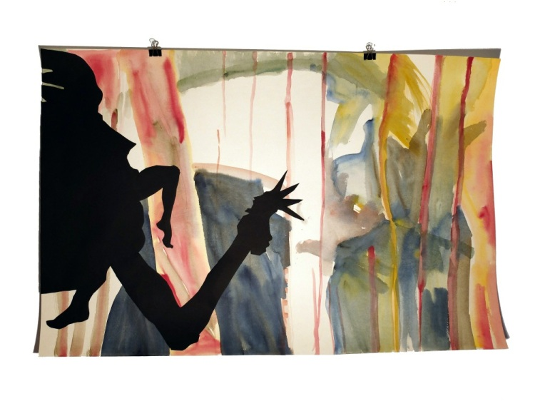 Figures de terasse 12 : aquarelle et papier collé sur carton, 80x120 cm, 2014