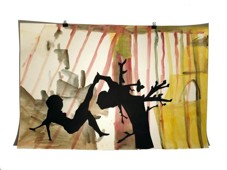 Figures de terasse 2 : aquarelle et papier collé sur carton, 80x120 cm, 2014