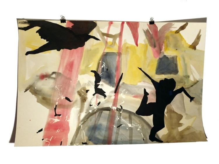 Figures de terasse 4 : aquarelle et papier collé sur carton, 80x120 cm, 2014