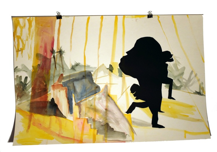 Figures de terasse 5 : aquarelle et papier collé sur carton, 80x120 cm, 2014