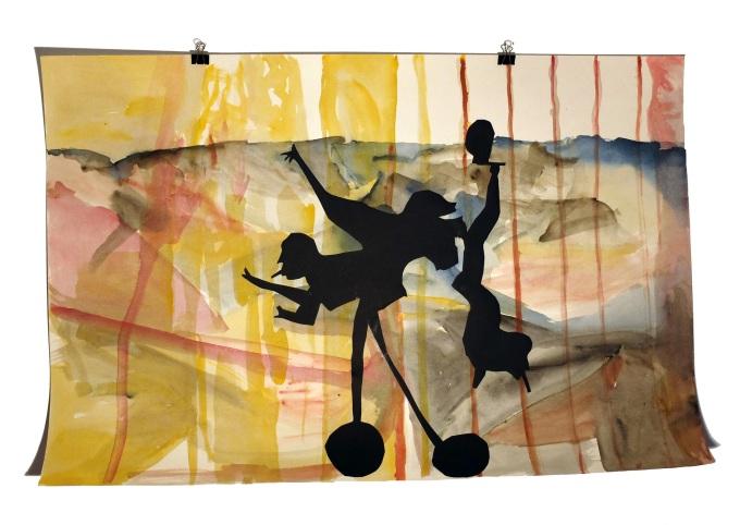 Figures de terasse 6 : aquarelle et papier collé sur carton, 80x120 cm, 2014