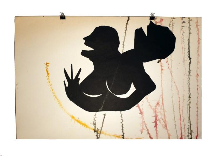 Figures de terasse 7 : aquarelle et papier collé sur carton, 80x120 cm, 2014
