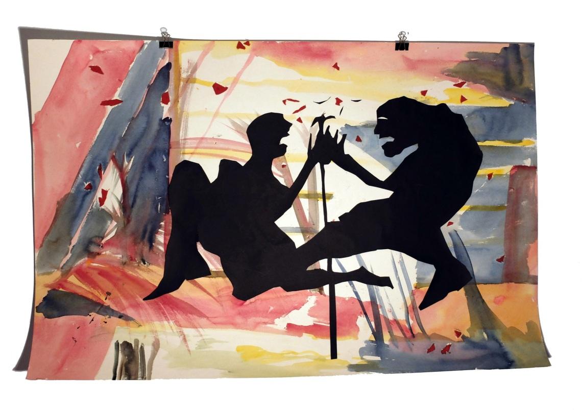 Figures de terasse 9 : aquarelle et papier collé sur carton, 80x120 cm, 2014